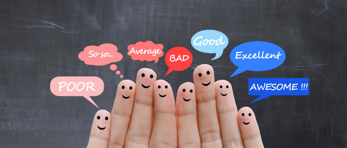 Customer satisfaction scale and testimonials concept
